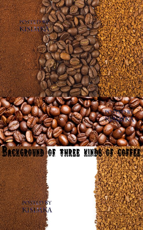 Stock Photo: Background of three kinds of coffee