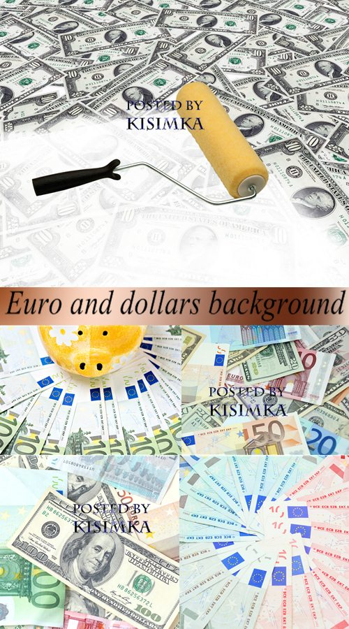 Stock Photo: Euro and dollars background