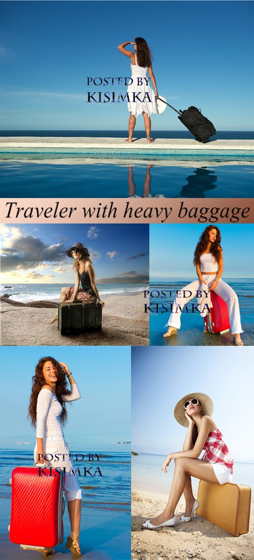 Stock Photo: Traveler with heavy baggage