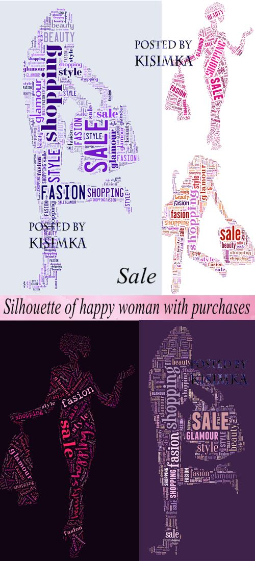 Stock Photo: Silhouette of happy woman with purchases