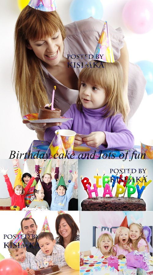 Stock Photo: Birthday cake and lots of fun