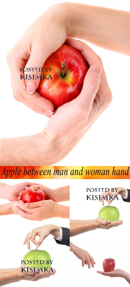 Stock Photo: Apple between man and woman hand