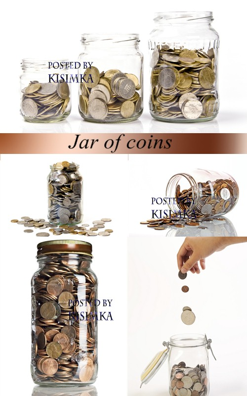Stock Photo: Jar of coins