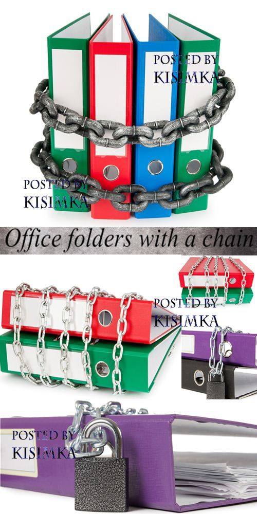 Stock Photo: Office folders with a chain