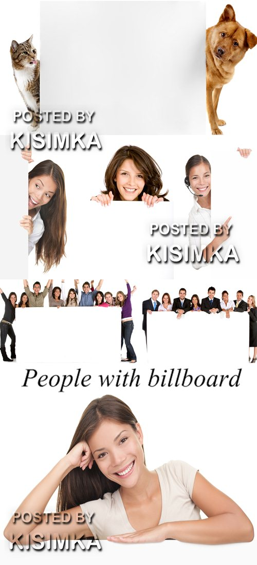 Stock Photo: People with billboard