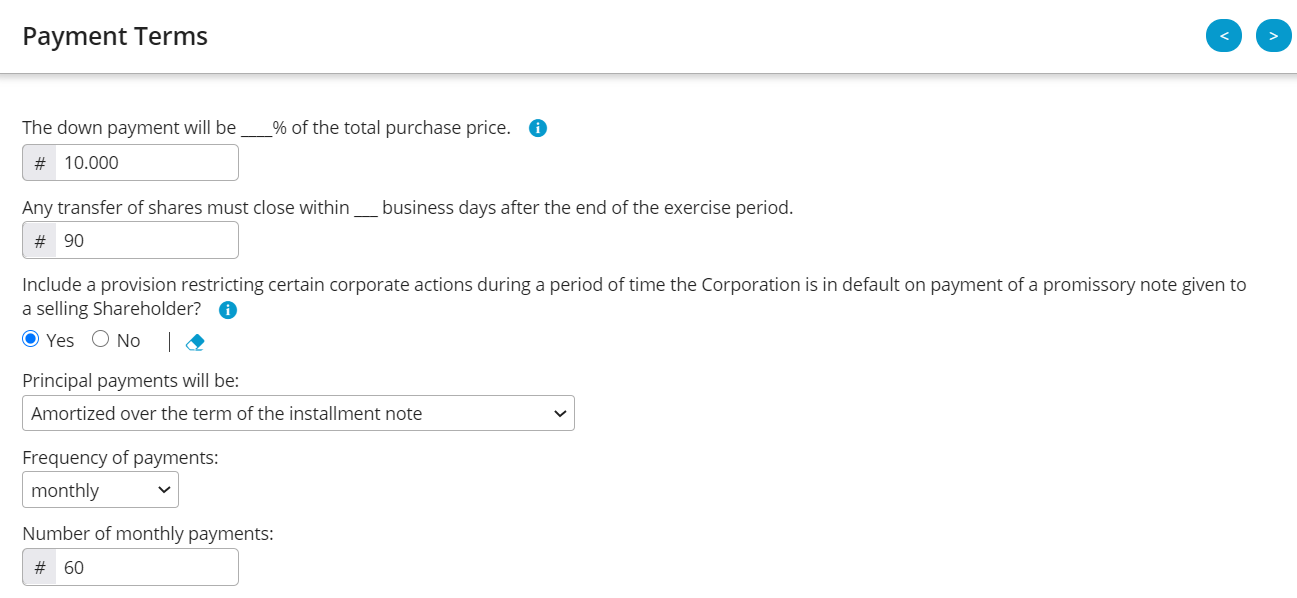Above is an example of the payment terms offered within Business Docx.