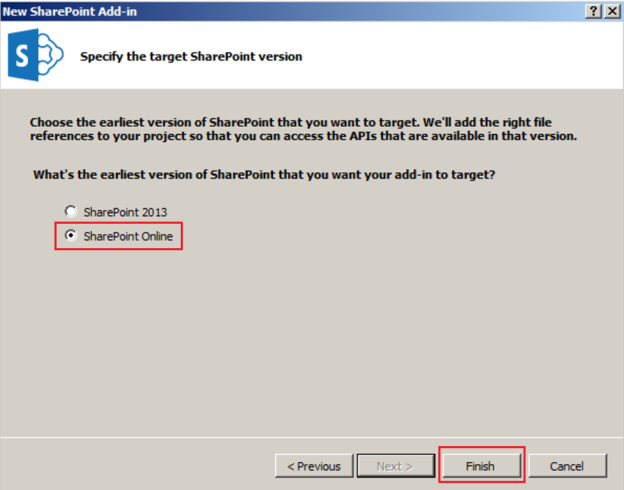 Specify the target SharePoint version
