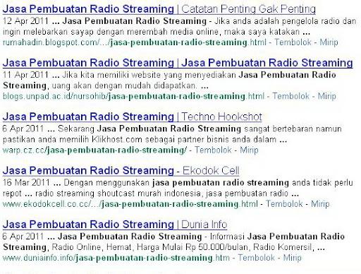 "Pemenang Kontes SEO ""Jasa Pembuatan Radio Streaming"""