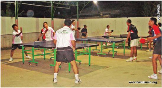 Latihan tenis meja bersama PTM Baonk dan PTM 215 di Surau Baitul Amin (SBA)