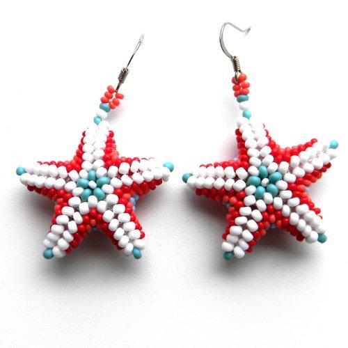 серьги из бисера Anabel морские звезды из бисера