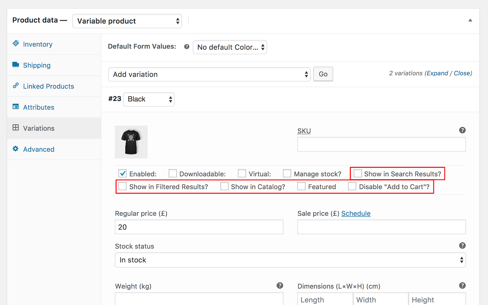 show woocommerce variations in search