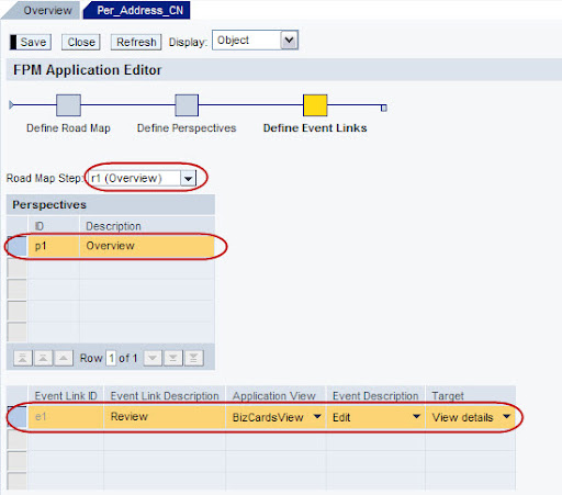 FPM Define Events for Overview screen details