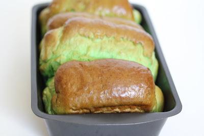 pandan bread in a loaf pan