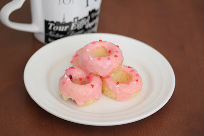photo of mini donuts with pink icing
