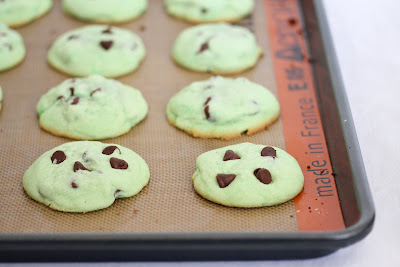 photo of Green Chocolate Chip Cookies on a baking sheet