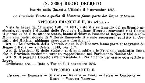 Regio decreto 3300 del 1866 -Le Provincie Venete fanno parte del Regno d'Italia