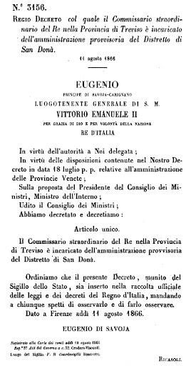Regio Decreto dell'11 agosto 1866