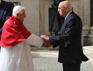 Papa Benedetto XVI e il presidente Giorgio Napolitano