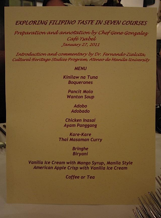 menu for Chef Gene Gonzalez's 'Exploring Filipino Taste in Seven Courses'