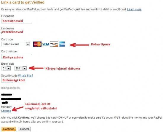 Bankkártya csatolása Paypal -hoz
