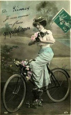 Vintage Postcard Bicycle and LightLane