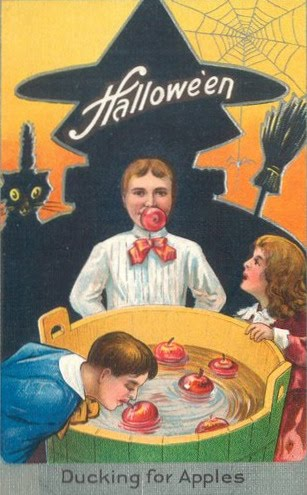 Bobbing for Halloween Vintage Postcards