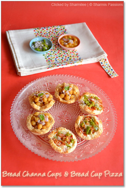 Bread Cup Pizza and Bread Channa Cups Recipe