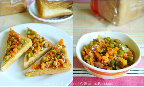 Bread Vegetable Masala Sandwich Recipe