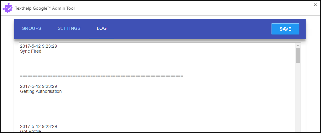 Texthelp Google Admin Tool  Enable Logging Settings