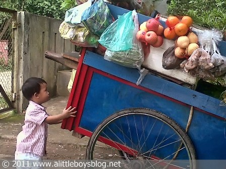 Baby pushing vegetable pushcart