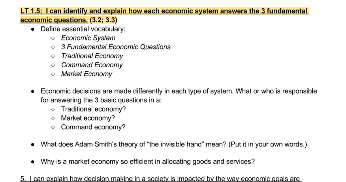 economic systems worksheet google docs
