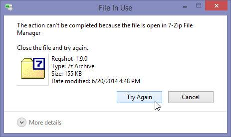 File locked error message