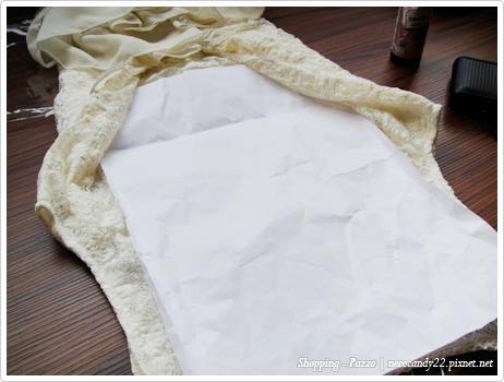 pazzo MIT領口滾花邊花蕾絲背心式洋裝(白杏)