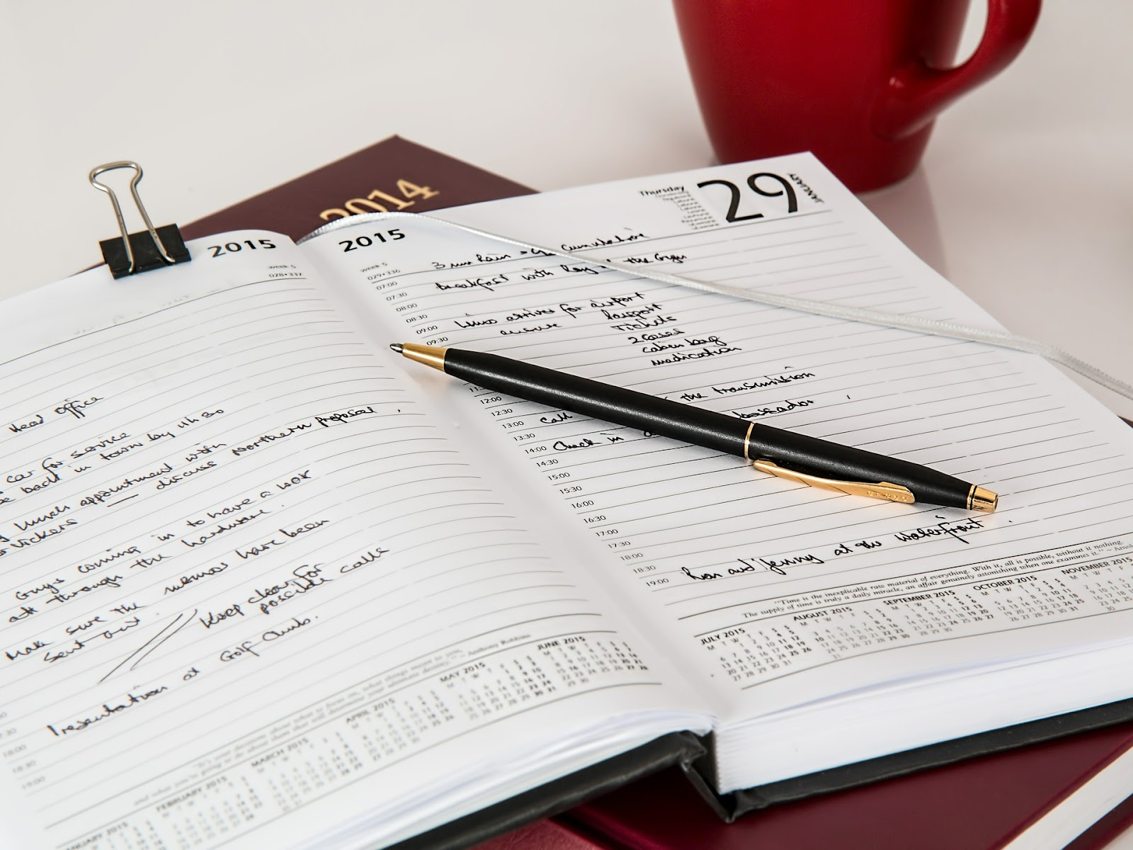 Paper agenda and pen schedule for bar exam study