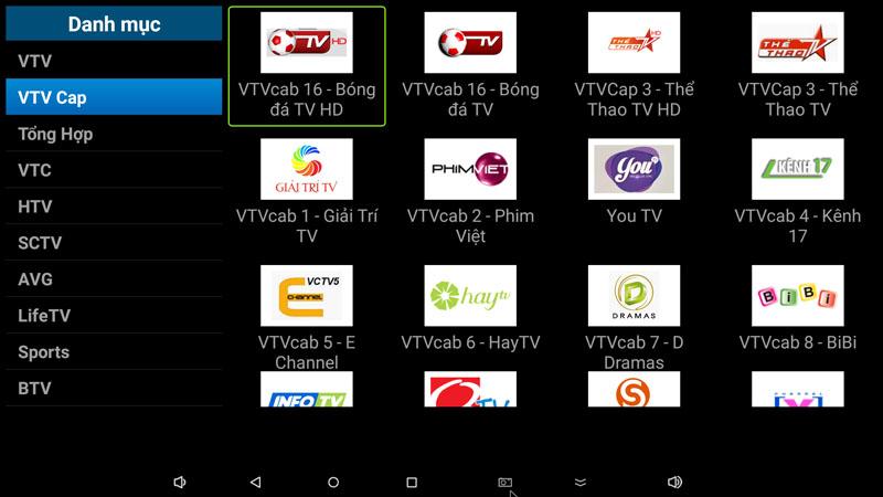 flytv ung dung xem truyen hinh tivi online mien phi cho android tv box flytvbox - nhom kenh VTV Cap