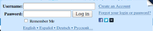 Livejournal login box with input boxes for user name and password.  There is a Facebook and Twitter icon with a drop-down arrow beside it to the right of the log in button.
