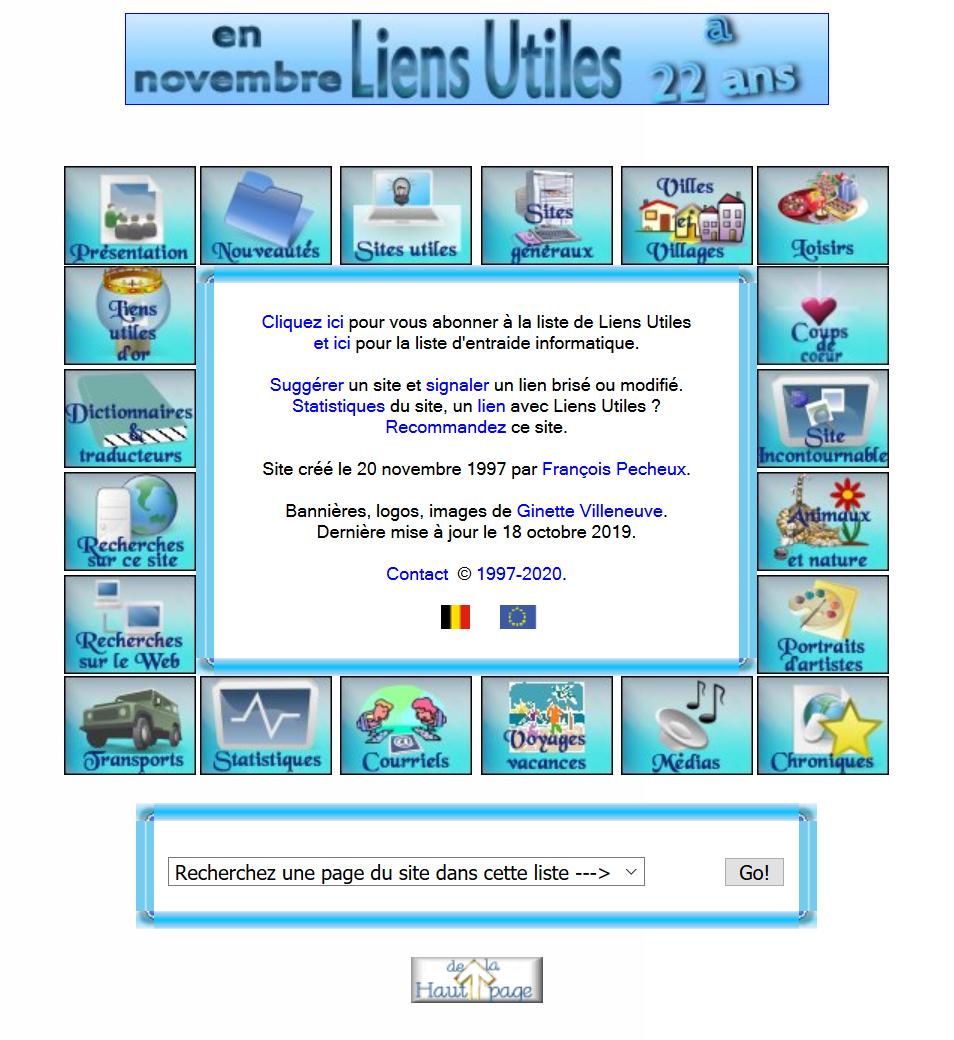Capture d'écran du site www.liensutiles.org
