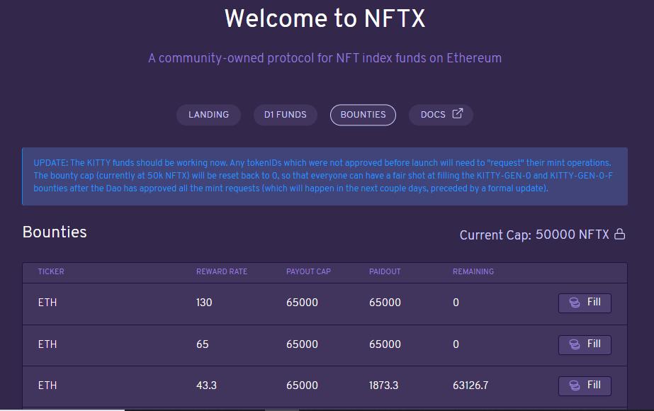 NFTX - Bounties NFT index fund