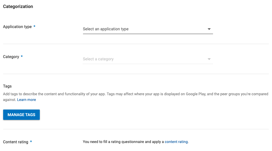 Type and category Google Play