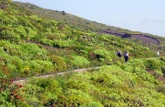 Zwei Wanderer auf dem Wasserkanal,La Palma,Kanaren,
