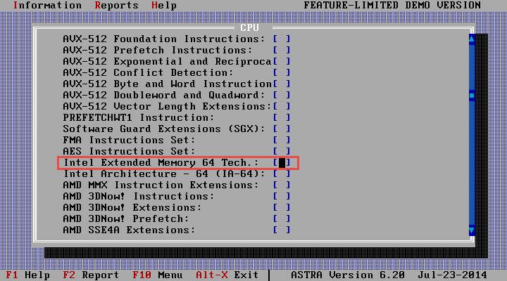 Astra: Information -> Processsor -> CPU, EM64T/AMD64