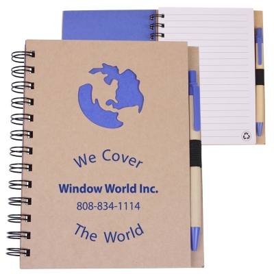 5x7 Eco Spiral Notebook with Pen