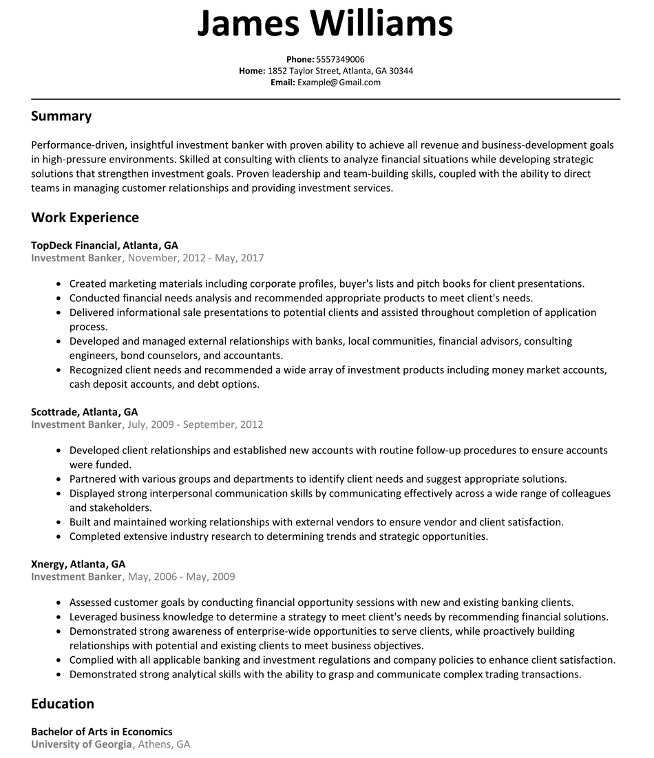 Education investment resume