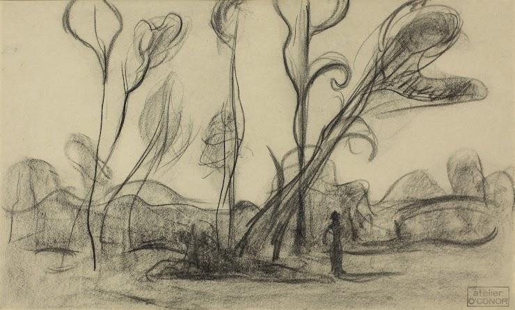 Roderic O'Conor (Roscommon (Irlande), 1860 ; Nueil-sur-Layon, 1940) Paysage aux arbres, 1894 Fusain, cachet de l'atelier, 29 x 45 cm Coll. Musée de Pont-Aven, inv. 1996.13.1 © Musée de Pont-Aven