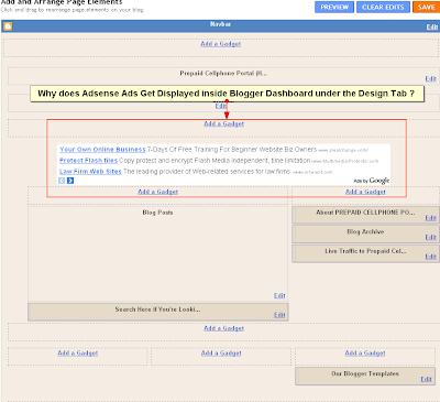 Adsense Ad Appearing Inside Blogger Dashboard - Design Tab