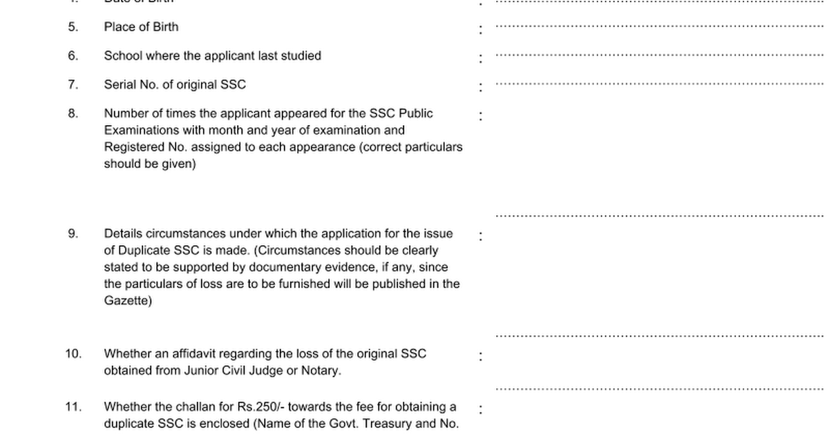 Application For Issue Of A Duplicate Ssc 2 Google Docs