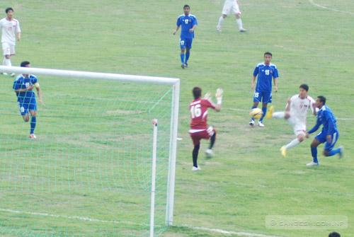 Koreans team score a goal