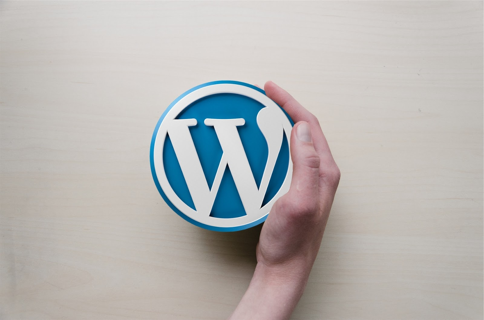 wordpress logo hand