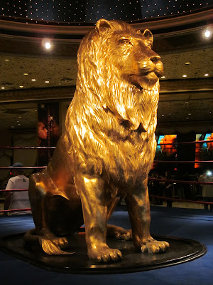 MGM gold lion profile mane lobby vegas photo