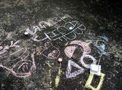 Sidewalk driveway asphalt chalk photo